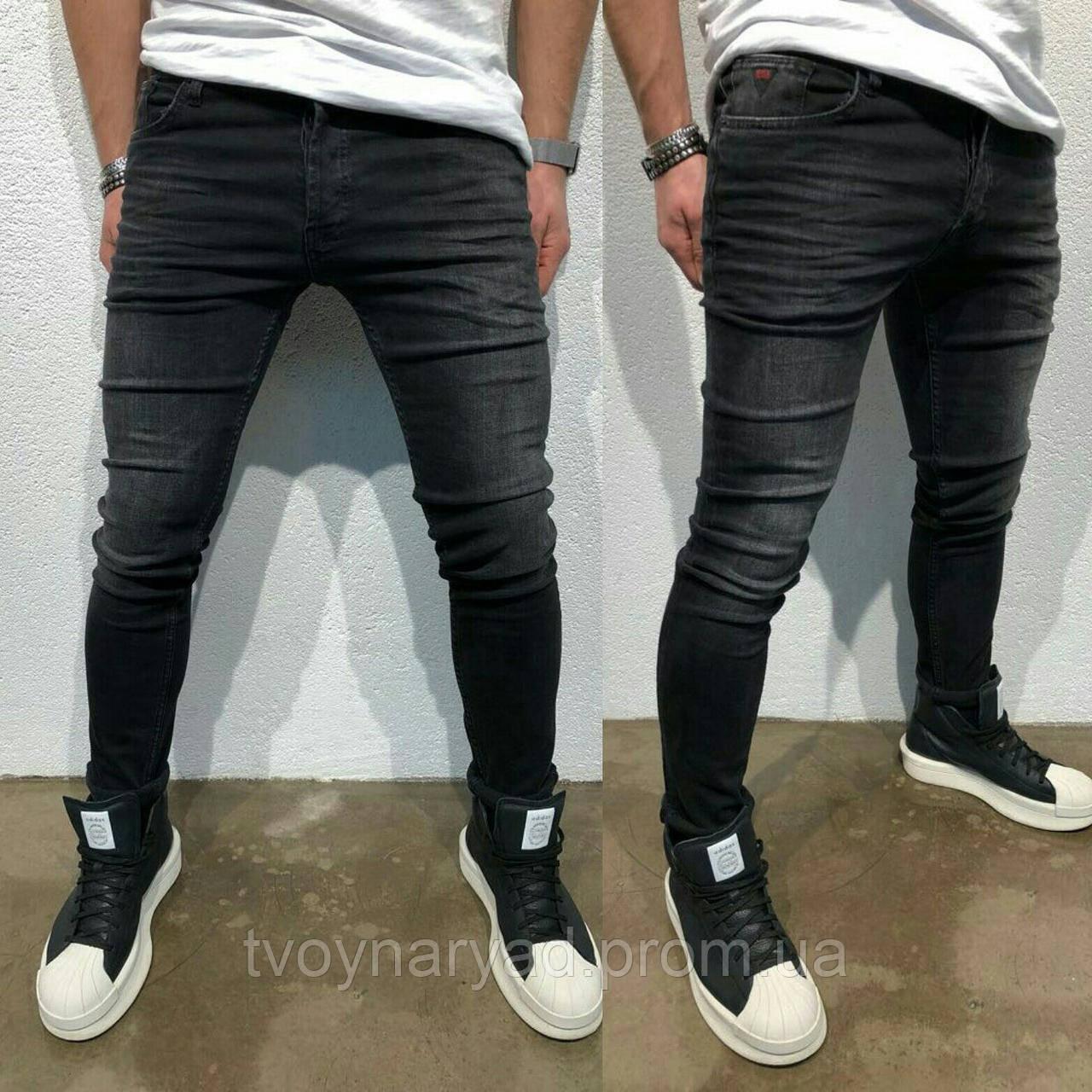 5368b93d9cb Мужские черные зауженные джинсы