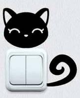 Виниловая интерьерная наклейка - Кошка на розетку 3 (от 7х5 см)