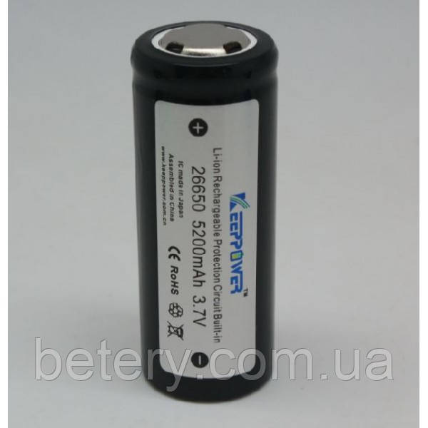 Аккумулятор Li-ion Keeppower 26650 (3.6v 5200mAh)