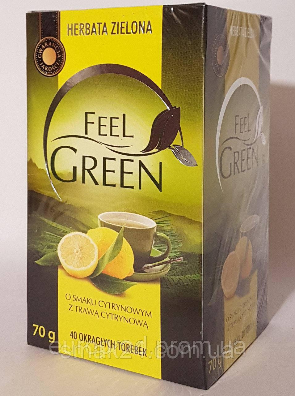 Чай зеленый  Feel Green с лимоном Польша (40 пакет) 70г