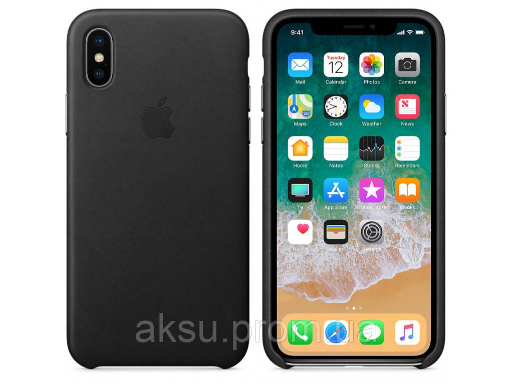Чехол Leather case for iPhone X Black