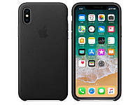 Чехол Leather case for iPhone X Black, фото 1