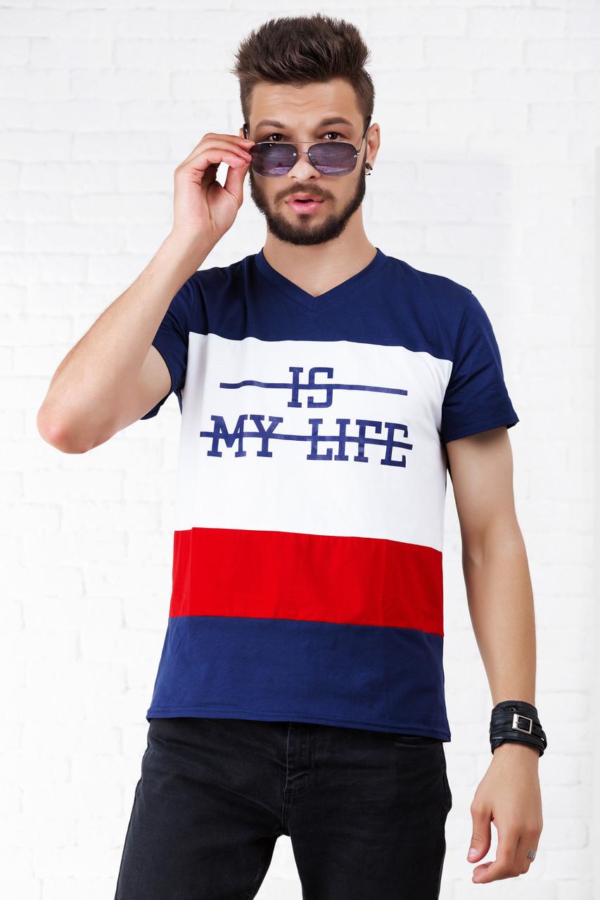 """Мужская трикотажная футболка """"IS MY LIFE"""" с принтом"""