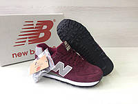 Кроссовки женские New Balance 574-Original код товара 4S-1055. Бордовые