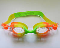 Окуляри для плавання «Рибки» (дитячі, антифог, силіконова перенісся). Колір салатовий/жовтий/оранж, фото 1