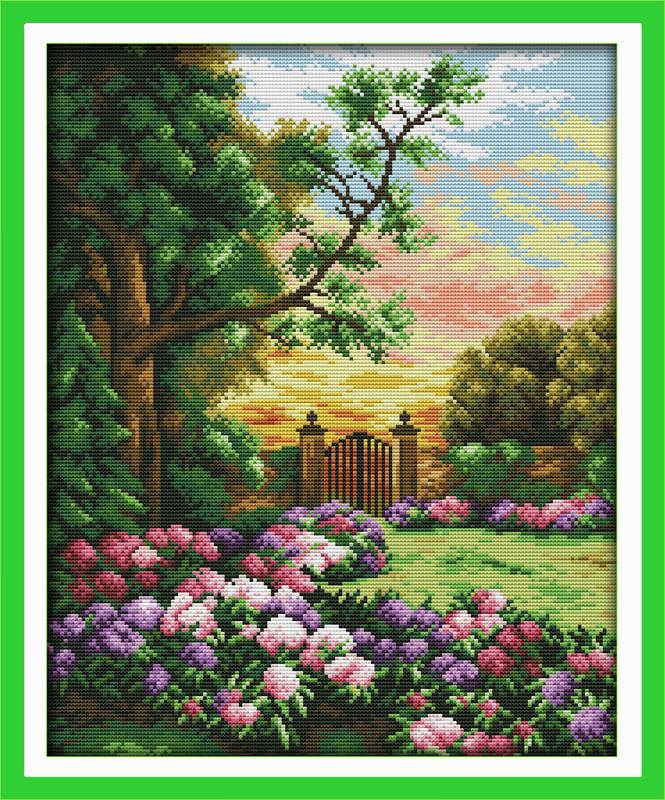 Садовый дворик Набор для вышивки крестом с печатью на ткани 14ст
