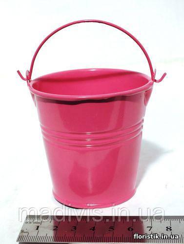 Ведерко декоративное 7 см. ярко-розовое.