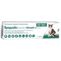 Средство от блох и клещей для кошек Бродлайн Спот-он от 2,5 до 7,5 кг, 1 шприц