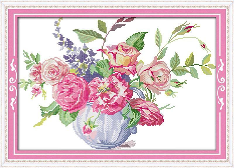 Розы в вазе H414/4 Набор для вышивания крестиком с печатью на ткани 14ст