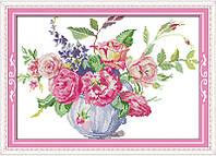 Розы в вазе 4. Набор для вышивания крестиком с печатью на ткани 14ст