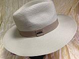 Шляпа мужская белая с синей лентой 56-58, фото 10