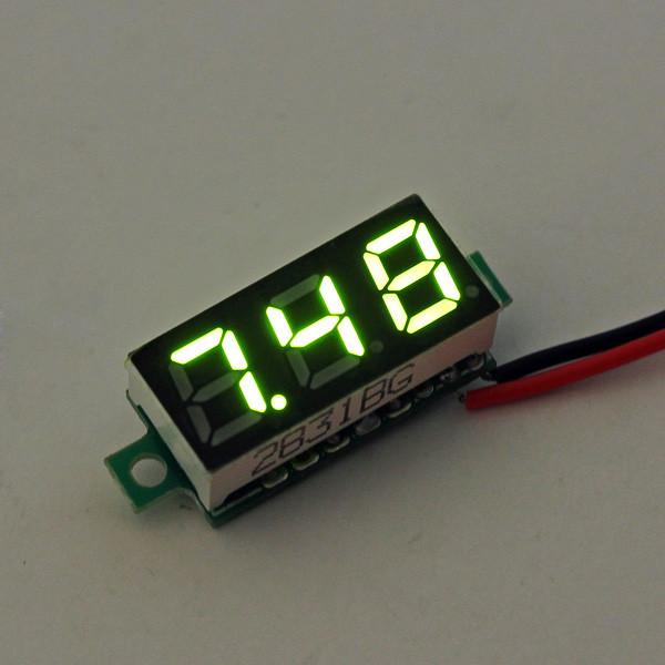 10Pcs Geekcreit® Green 0.28 дюймов 2.6V-30V Миниатюрный измеритель напряжения вольтметра Voltmeter 1TopShop