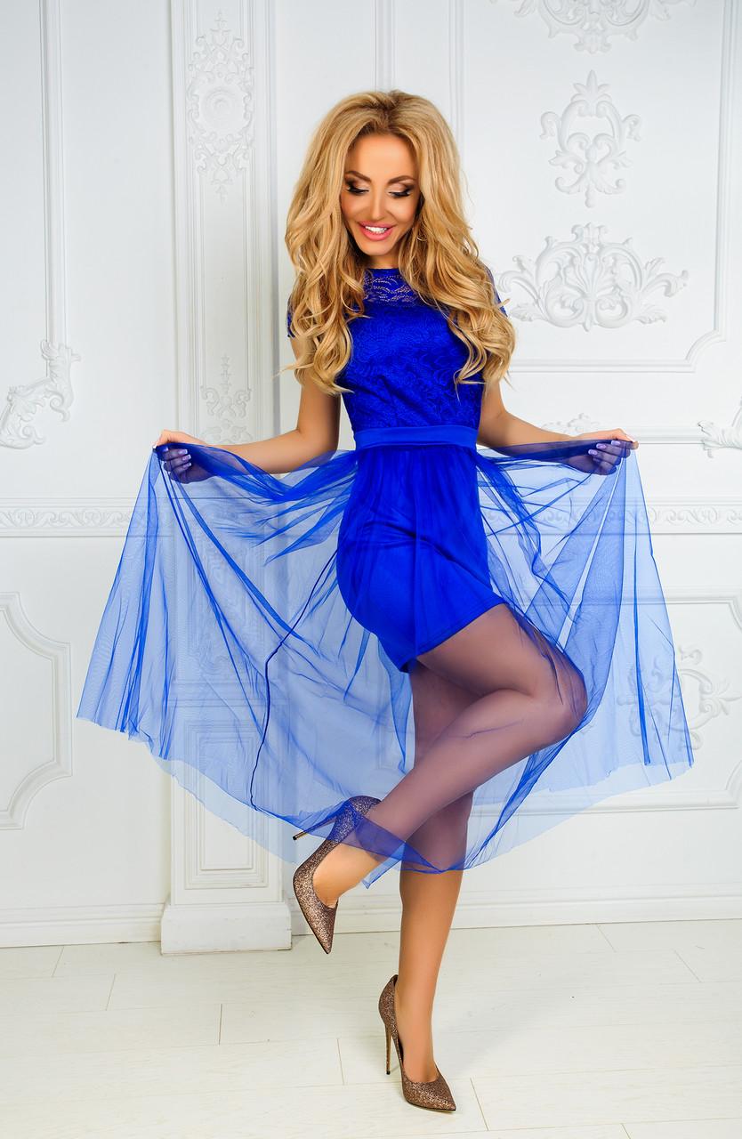 Платье с юбкой из евросетки электрик - Одежда для настоящих модниц в  Харькове b327498bc3b