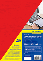 """Обложка картонная """"под кожу"""" А4 250гм2, (50шт./уп.), красный"""