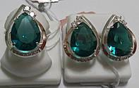 Комплект серебряный Калерия с золотом и зеленым кристалом, фото 1