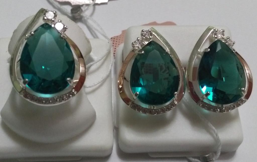 Комплект серебряный Калерия с золотом и зеленым кристалом - Hope Shop  интернет- магазин ювелирных украшений 0d5e5fa7ad8