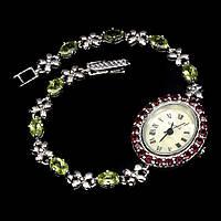 Часы с натуральным Перидотом (Хризолитом) и Гранатами родолитами