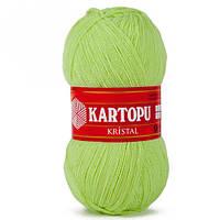 Турецкая  пряжа для вязания KARTOPU- kristal (кристалл)- 439 салатовый