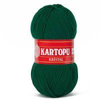 Турецкая  пряжа для вязания KARTOPU- kristal (кристалл)- 453 зеленка