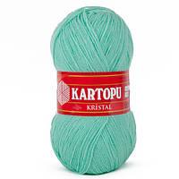Турецкая  пряжа для вязания KARTOPU- kristal (кристалл)- 559 зеленая бирюза