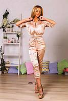 Золотистый шелковый женский костюм с бриджами с отделкой из парчевой тесмы. Арт - 6187/91