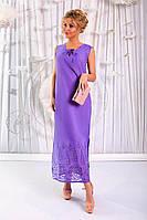 Сиреневый летний женский сарафан из батиста с вышивкой купоном. Арт-6189/91