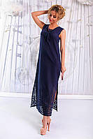 Темно-синий летний женский сарафан из батиста с вышивкой купоном. Арт-6189/91
