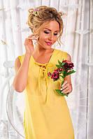 Желтый летний женский сарафан из батиста с вышивкой купоном. Арт-6189/91