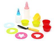 Детский набор для выпечки (13 предметов): 6шт мини-форм для выпечки; 2шт бутылочки с насадками для декорации; 4шт трафаретов; 1шт лопатка