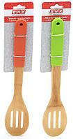 Ложка поварская бамбуковая с прорезями с силиконовой ручкой 32см, 2 вида BonaDi 950-153