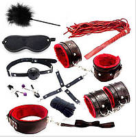 Набор садо мазо, для игр БДСМ. Плетка,маска,кандалы,наручники,зажимы на соски,веревка,кляп, ошейник.