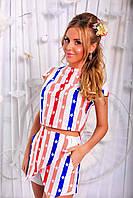 Красочный женский костюм с шортиками с принтом мелкие звезды. Арт -6282/91