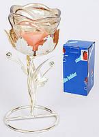 Подсвечник стеклянный Цветок на металлической подставке 16см BonaDi 4210282