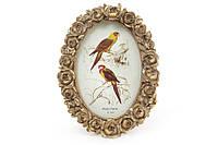Рамка для фото овальная 15*19.5см Розы, цвет - состаренное золото BonaDi 450-133