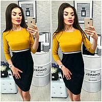 Облегающее платье двух-цветное с рукавом три четверти / 4 цвета арт 4408-476
