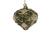 Елочное украшение в форме луковицы 8см, цвет - темно-зеленый с золотом BonaDi 172-250