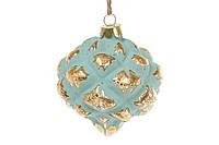 Елочное украшение в форме луковицы 8см, цвет - мята с золотом BonaDi 172-253