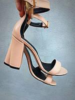Viva лето! Женские стильные кожаные босоножки каблук 10 см пудра