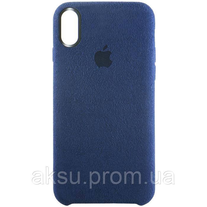 Чехол Leather case for iPhone X Dark_blue
