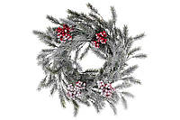 Венок из искуственной хвои в снегу с красными ягодами 40см BonaDi 819-101