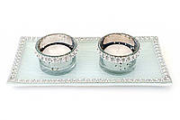 Набор: 2 подсвечника + 2 свечи + стеклянная подставка 20см BonaDi NY15-C23