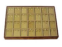 Бежевая коробка планшет под серьги (подставка для продажи серёжек)