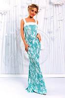 Бирюзовое женское удлиненное платье из шелка гофре с отделкой из костюмного крепа. Арт-6200/91