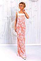 Розовое женское удлиненное платье из шелка гофре с отделкой из костюмного крепа. Арт-6200/91