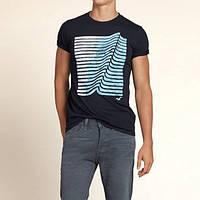 """Темно-синяя футболка """"Wave"""" Hollister"""