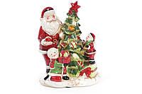 Декоративная музыкальная статуэтка Санта у елки с LED-подсветкой 28см (2 режима - подсветка и подсветка с музыкой) BonaDi 827-415