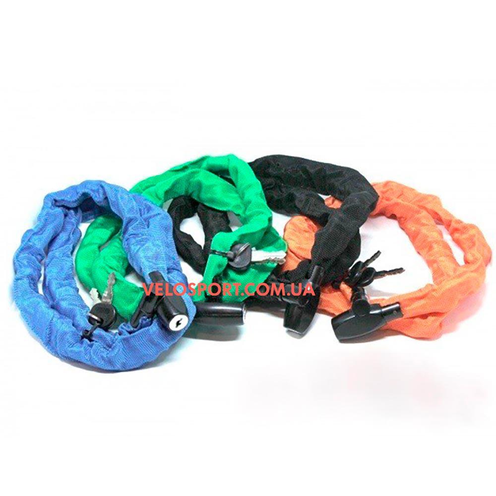 Велозамок 5*1000mm TY747-1 разноцветная цепь в чехле