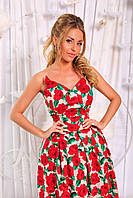 Нарядное коттоновое женское платье с юбкой из фатина и принтом красные розы. Арт-6205/91