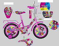 """Велосипед двухколесный 16 дюймов """"Monster girl"""" со звонком, зеркалом и страховочными колесами, ручным тормозом"""