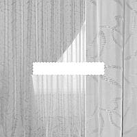 """Вуаль шифон тюль белая жаккардовая """"серпантин"""", с утяжелителем, ш.300 итальянская ткань"""